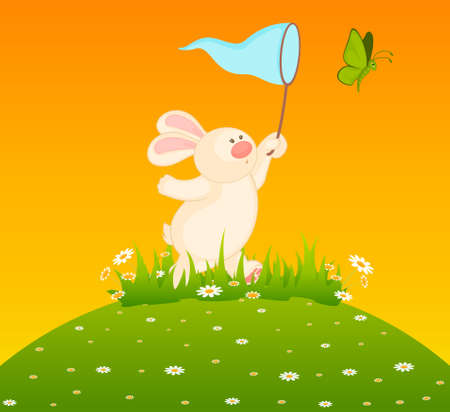 cartoon little toy bunny with butterfly photo