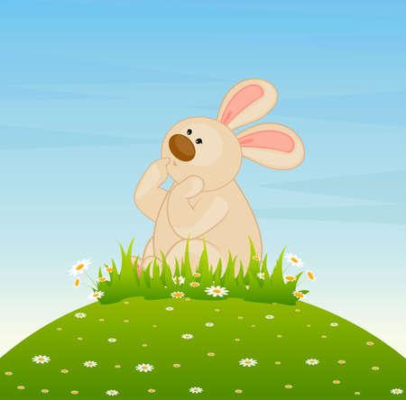 cartoon little toy bunny dreams photo
