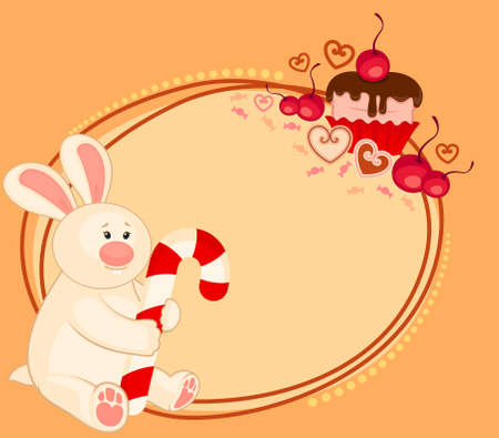 cartoon little toy bunny with sweet cupcake photo