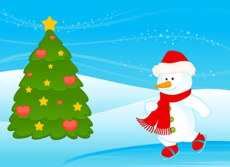 cartoon little cute snowman photo