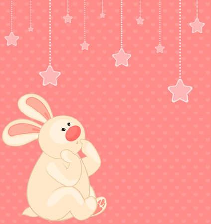cartoon little toy bunny with stars photo