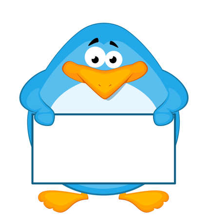 baner: cartoon penguin with baner Stock Photo