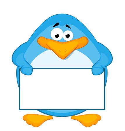 pinguino caricatura: Ping�ino de dibujos animados con baner