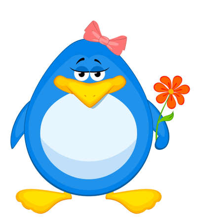 cartoon penguin with flower photo