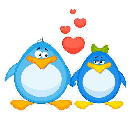 cartoon penguins  with heart photo