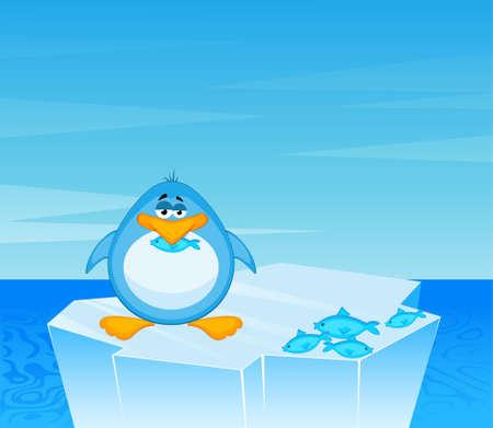 cartoon penguin on an iceberg in an ocean photo