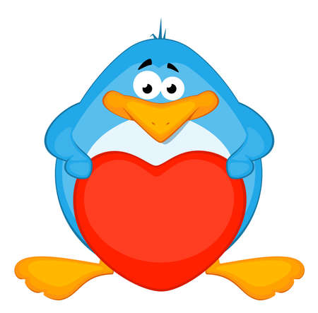 cartoon penguin with heart Stock Photo - 8228044