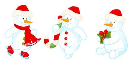 set of cartoon cute snowmen are isolated photo