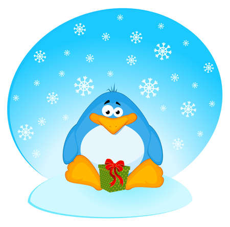 cartoon penguin with gifts photo