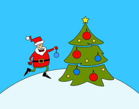 Happy Santa Claus with fir-tree. Stock Photo