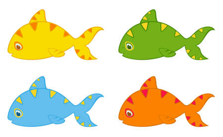 Set of little colorful tropical fish Stock Photo - 8336680