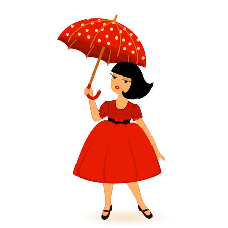 Vector cartoon little girl with umbrella Stock Vector - 8484436