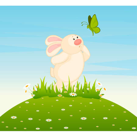 cartoon little toy bunny with butterfly Vector