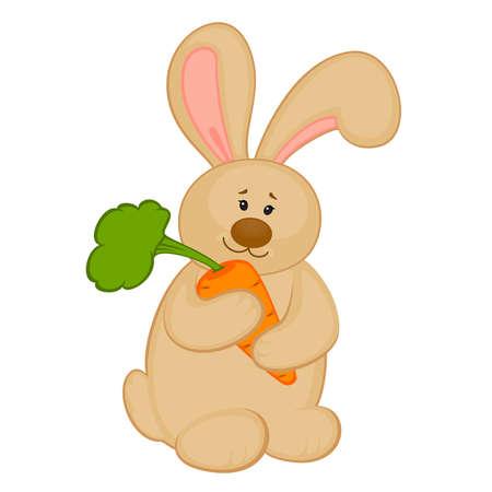 Dibujo animado de poco bunny de juguete con zanahoria Foto de archivo - 8524657