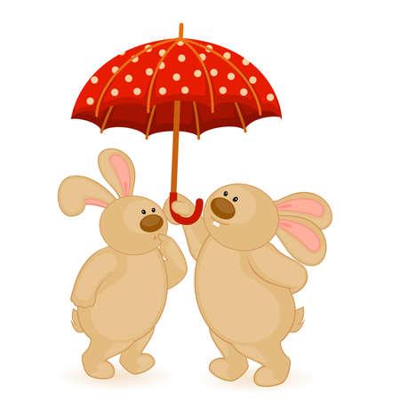cartoon little toy bunny with umbrella Stock Vector - 8524648