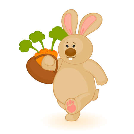 beautiful eating: cartoon little toy bunny with carrot Illustration