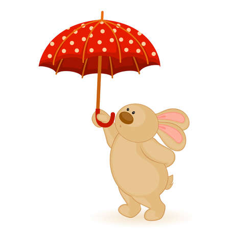 cartoon little toy bunny with umbrella Vector