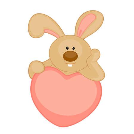 cartoon little toy bunny with heart Vector