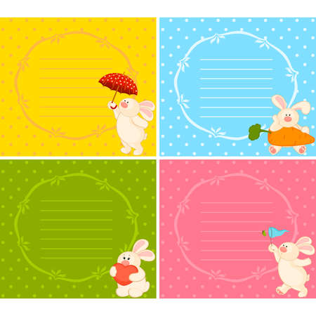 set of cartoon little toy bunny Stock Vector - 8524677
