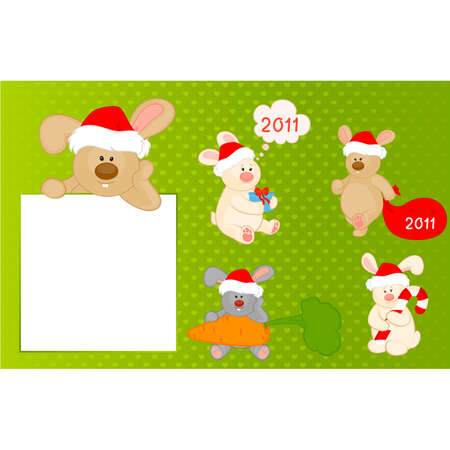 cartoon little toy bunny in the suit of Santa Claus with gift Vector