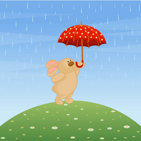 cartoon little toy bunny with umbrella Stock Vector - 8524699