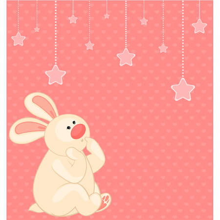 cartoon little toy bunny with stars Vector