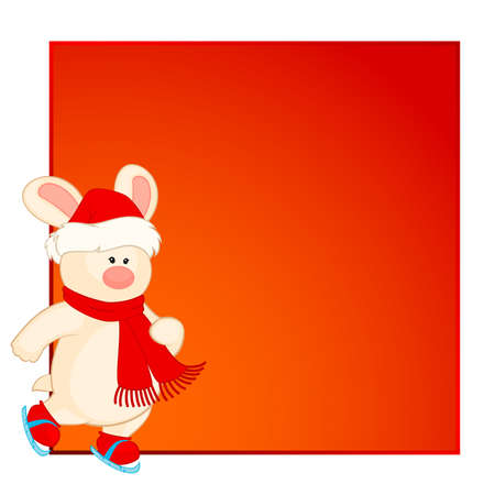 bunny in the suit of Santa Claus goes for a drive on skates Vector