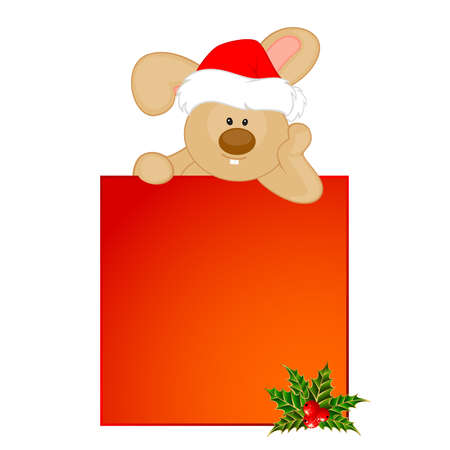 cartoon little toy bunny in the suit of Santa Claus Vector