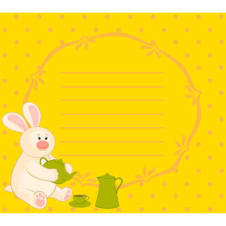 cartoon little toy bunny with beautiful cups and tea-pot Vector