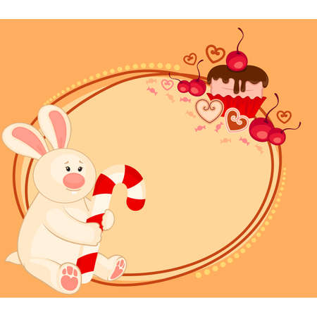 Vector cartoon little toy bunny with sweet cupcake Vector