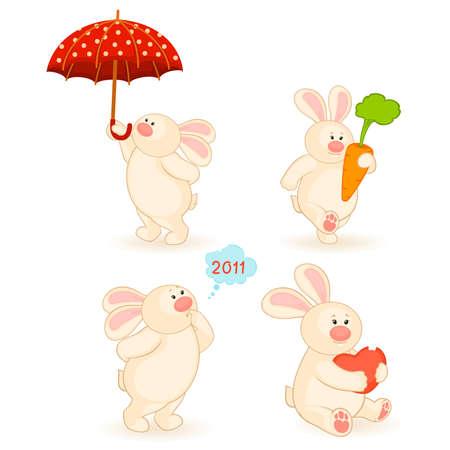 set of cartoon little toy bunny Stock Vector - 8524680