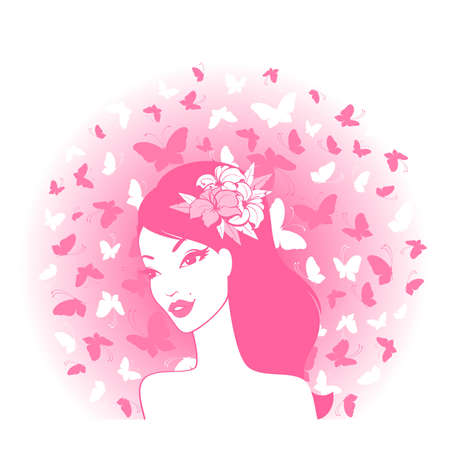 cowards: Vector portrait of beautiful young girl with butterflies Illustration