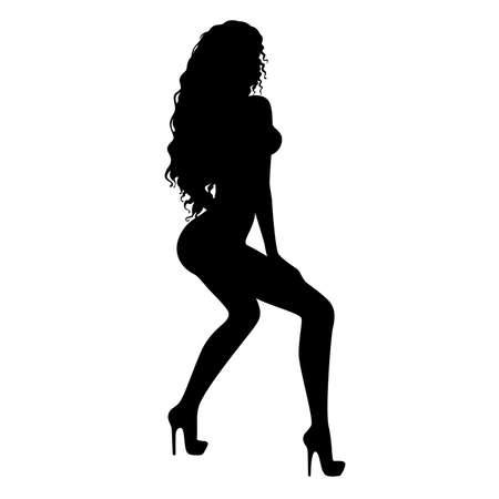 black breast: sexy women dances striptease Illustration