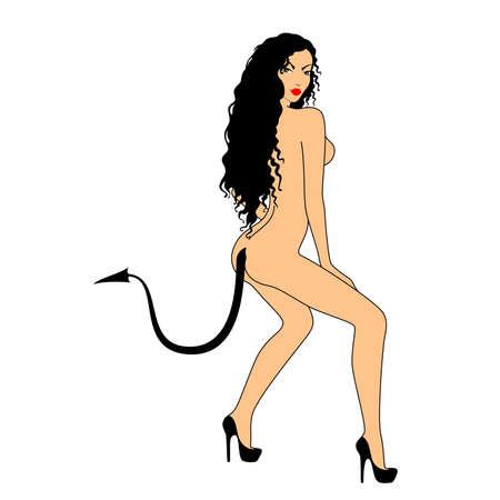 ni�a desnuda: chica desnuda con cola