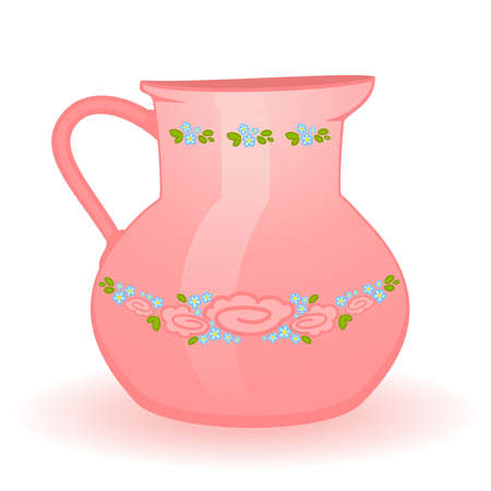 pink beautiful jug isolated on white Stock Vector - 8565732