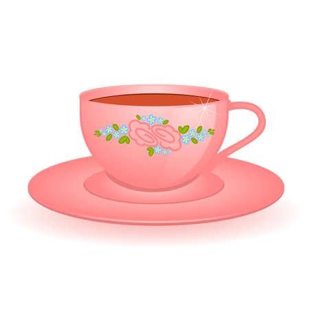 afternoon cafe: Copa hermosa rosa aislada en blanco Vectores