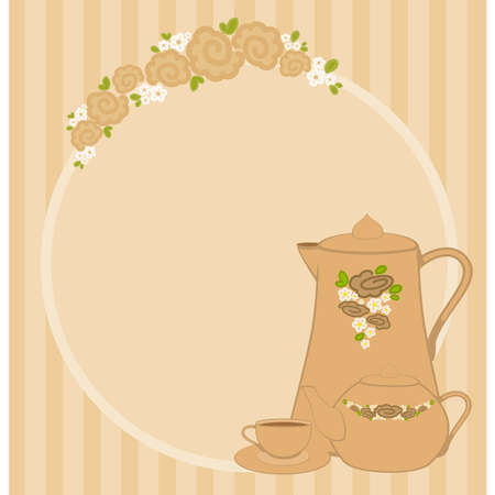 beautiful frame with flowers and beautiful cups and tea-pots Vector