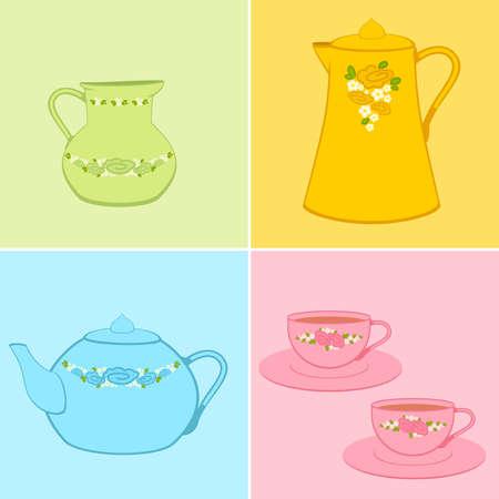 afternoon: conjunto de copas hermosos y teteras de color