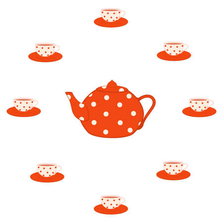 set of color beautiful cups and red tea-pots Stock Vector - 8565704