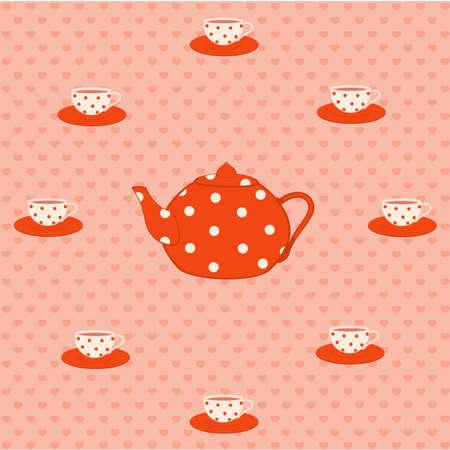 desayuno romantico: Conjunto de vector de color hermosos tazas y teteras rojos Vectores