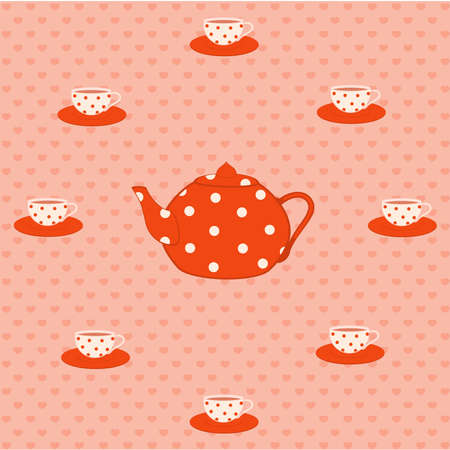 Vector set of color beautiful cups and red tea-pots Vector