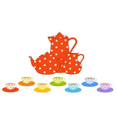 Vector set of color beautiful cups and red tea-pots Stock Vector - 8565589
