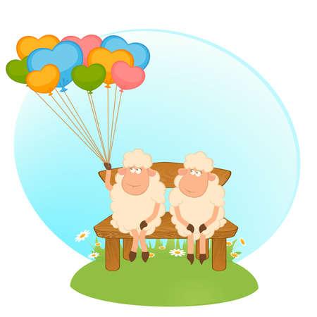 Cartoon sheep with balloons. Vector. Illustration