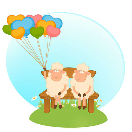 sheep love: Ovejas de dibujos animados con globos. Vector.
