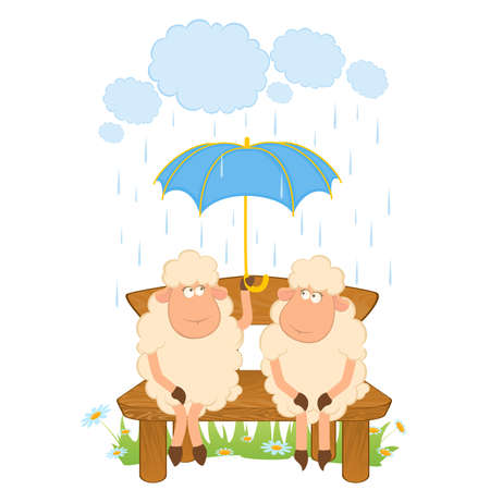 image lamb: Vector illustration of cartoon sheep flies on a umbrella Illustration