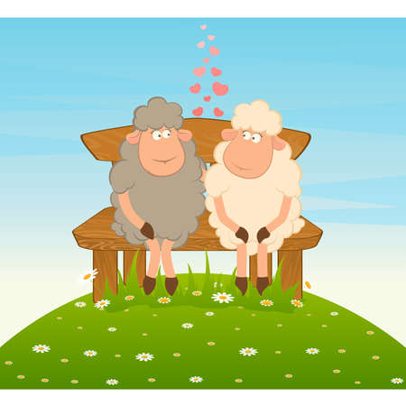 Cartoon funny sheep sits on a bench. Vector