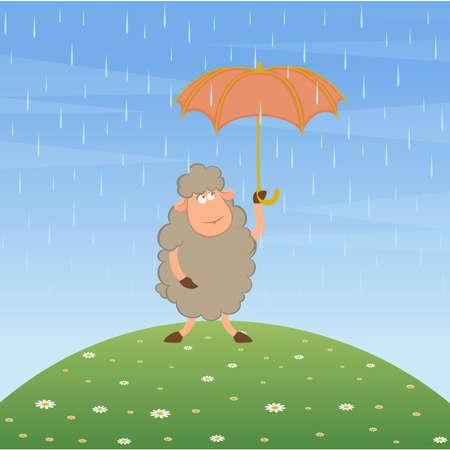 Vector illustration of cartoon sheep flies on a red umbrella Vector