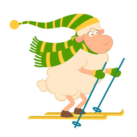 Cartoon funny skier sheep Vector
