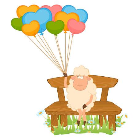 Cartoon sheep with balloons. Vector. Vector