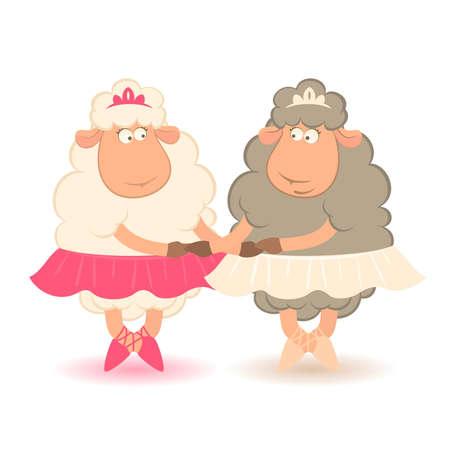 Cartoon funny sheep - ballet dancer.  Vector
